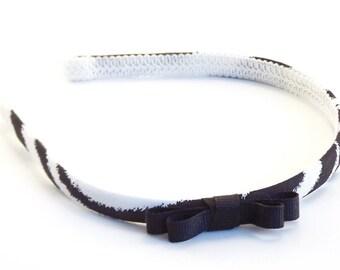 Skinny Zebra Bow Headband  - Black and White