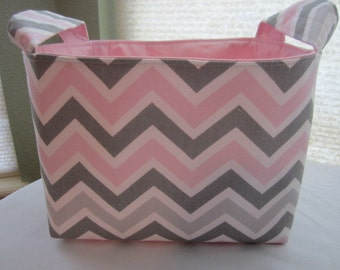 Organizer Storage Basket Bin Container Fabric - Chevron Pink Grey Zig Zag