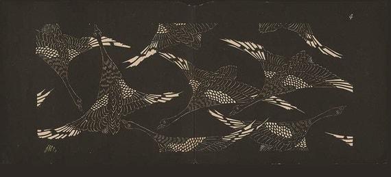 Birds Flying, Japanese Stencil, 1893, Antique Print 4, Black White Japan Wall Decor, Japan Design, Art Deco Art Nouveau, Eclectic Style