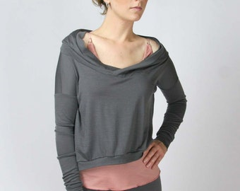 wool hoody in cropped length - MERINO II range - made to order