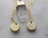 Gold Polished Disk Necklace Circle Tag Necklace Coin Necklace Unisex Dainty