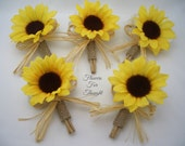 Rustic Sunflower Burlap Boutonnieres with Straw Bows, Groomsmen Wedding Flowers, FFT original, Made to Order