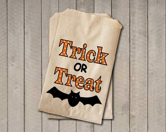 Trick Or Treat Candy Bags, Candy Bags, Halloween Favor Bag, Halloween Candy Bags, Halloween Treat Bag, Halloween Party - Orange & Black