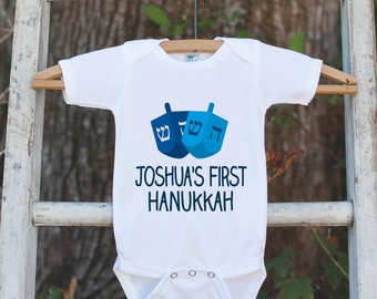 First Hanukkah Outfit, Hanukkah Onepiece, Baby's First Hanukkah Shirt Personalized with Name for Newborn Baby Boy or Baby Girl Hanukkah Gift