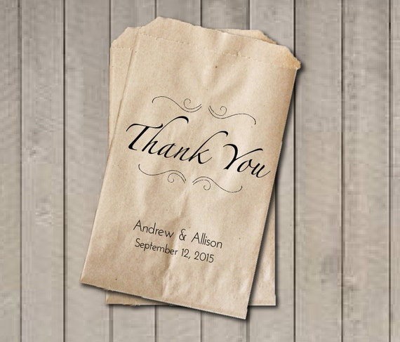 THANK YOU Wedding Favor Bags, Thank You Favor Bags, Personalized ...