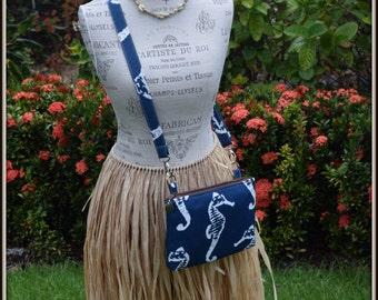 Navy Blue Colored Seahorse Cross Body Bag - iPad Mini - Day Bag