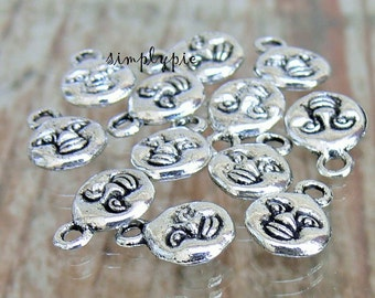 Moon Face Antiqued Silver Metal Charms 12 Pcs