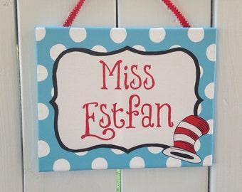 Dr. Seuss teacher, classroom door sign