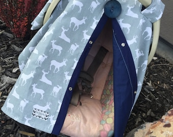 Boy Carseat Cover Deer Gray and Navy , car seat cover , nursing cover , carseat canopy , carseat cover