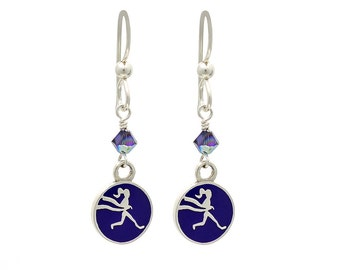 Running Earrings with Amethyst Crystal and Round Runner Girl Pendant