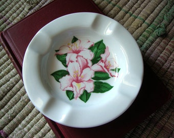 Vintage Restaurant Ware Greenbrier Hotel Ashtray Shenango China 1986 Pink Rhododendron White Body C&O Railway Railroad, CSX