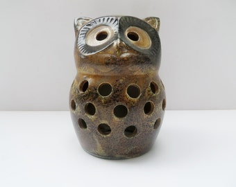 Vintage Owl Candle Holder Brown Rustic Ceramic