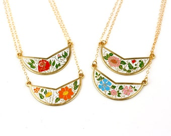 Vintage Bib Necklaces Choker, Cloisonne Necklace Collar, Colorful Enamel Pendant, Layer Necklace Rose Red, Necklace Orange & White Jewelery