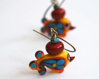 Bird Earrings, Folk Earrings, Yellow Red Blue Earrings, Lampwork Glass Earrings, Glass Bead Earrings, Paisley Earrings