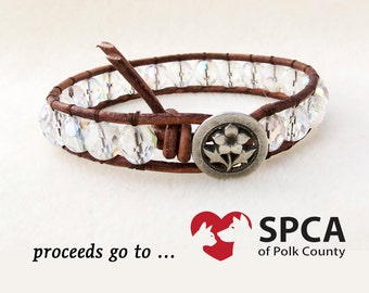 Clear Crystal Leather Wrap Bracelet, Ice Flower, Shabby Chic Silver Flower, Leather Wrap, Antiqued Silver Button, Handmade Jewelry for SPCA