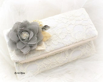 Clutch, Bridal, Ivory, White, Gray, Champagne, Handbag, Purse, Mother of the Bride, Maid of Honor, Lace, Crystals, Pearls, Vintage Style