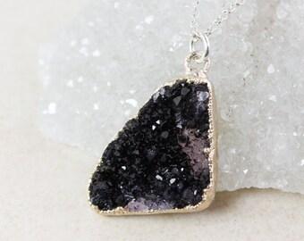 50% OFF SALE - Silver Black Druzy Necklace - Triangular Druzy - Geometric Necklaces