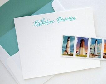 Custom Letterpress Stationery - Modern Calligraphy - Personalized Set of 25 Flat Notes