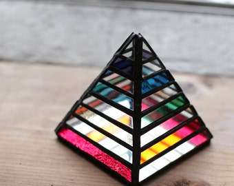 Stained Glass Pyramid Rainbow Mirror