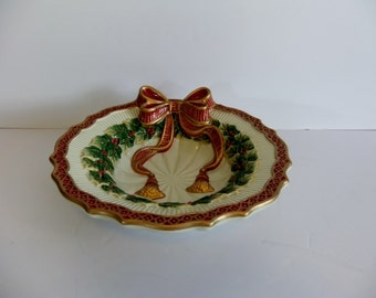 Fitz and Floyd Christmas Dish Xmas Bowl Handcrafted Holiday serving bowl Nut dish Fruit Bowl