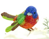 Painted Bunting Bird Christmas Ornament Beaded Clip- On Bright Rainbow Holiday Decoration Hostess Gift  *MADE TO ORDER