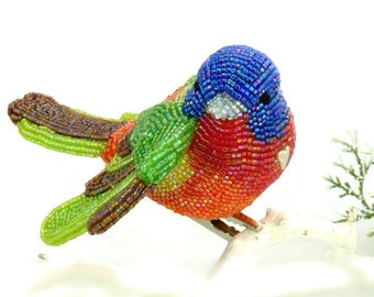 Painted Bunting Bird Ornament Beaded Clip-On Bright Rainbow Holiday Decoration Hostess Housewarming Gift *MADE TO ORDER