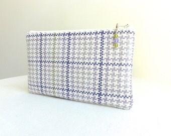 Purple & Sage Green Plaid Clutch / Zipper Bag - READY TO SHIP