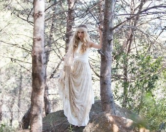 Wedding Dress Boho Golden Lace Bridal Gown Open Back Maxi