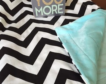 Chevron Baby Blanket, Choose Your Own Reverse Minky, Black Chevron, Baby Blankets, Soft Baby Blankets, Perfect Baby Gifts for shower