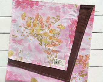 Reversible Baby Blanket Brown Flannel with Vintage Pink Sheet