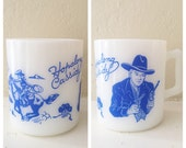 hopalong cassidy milk glass childrens mug 1950's
