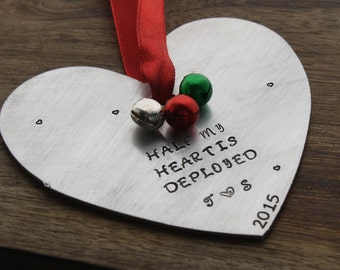 Half My Heart is Deployed Christmas Ornament Personalized Military Ornament Deployed Army Wife Navy Wife Military Wife Air force Wife