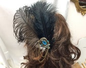hand made fancy feather hair pick,ostrich feathers, bronze swag chain, weddings, costume, party