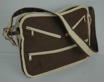 Large Canvas 70s Shoulder Bag  Carry All  Work School Bag Vegan
