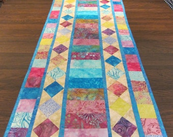 By the Sea By the Beautiful Sea Batik Pieced Quilted Table Runner Handmade CIJ