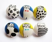 Fabric Covered Buttons - Well-dressed Cats - 6 Medium Fabric Buttons