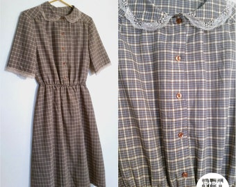 Cute Vintage Brown Plaid Dress with Lace Peter Pan Collar! Super Precious!