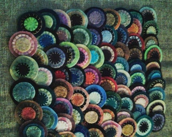 Wool penny rug triple stacked sewn ,25 count