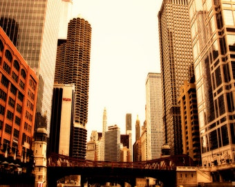 Chicago Skyline Art - golden toned photograph of Chicago - Golden Days - chicago print, Chicago Home Decor, Urban Wall Art, Chicago Photo