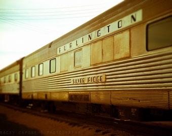 Train Photograph, Burlington Line, Boys Room Decor, Wall Art Print - Railway Car Photography, Playroom Artwork, Vintage Trains, Retro Home