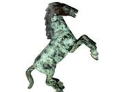 Antique BRONZE HORSE Statue Figure Green Verdigris Patina Fighting Stallion Vtg