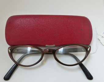 STUNNING Pin Up Rare 1950'S Cateye Cats eye  / Eyeglasses /Sunglasses/ with  hard case/ Bausch and Lomb USA