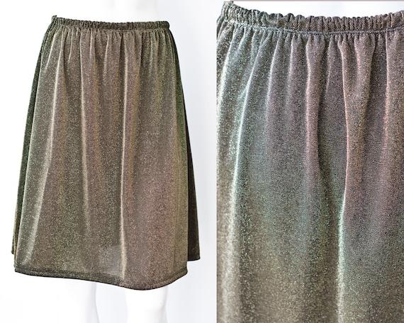 gold metallic a line high waist hoop skirt m l