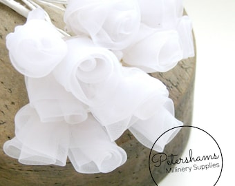 12 Organza Roses for Millinery, Fascinators - White