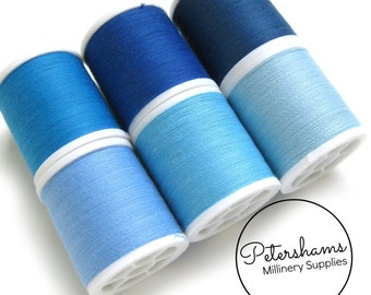 Light Blue Thread Collection - 6 Shades of Polyester Thread on 100 yard Spools