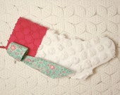 Festive Snowball Pom Poms Vintage Chenille Stocking with Snowflake Bow