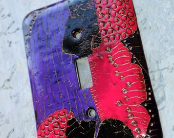 Pink n Purple Abstract decorative switch plate cover, polymer clay, pink, purple, black,