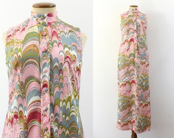 1970s Maxi Dress Mod Nehru Button Up Sleeveless Sundress Abstract Peacock Pink Marbleized Disco Vintage 70s Ankle Length Festival S Small