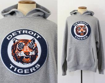 Vintage Hoodie Detroit Tigers Sweatshirt Pullover Kangaroo Pocket Hooded Retro Michigan Slouchy Oversized Unisex Boyfriend Baseball Large L