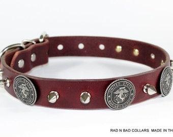 """Marine Dog Collar - United States Marine Dog Collar - 1"""" Leather USMC Dog Collar - Usmc Leather Dog Collar - Made In USA"""